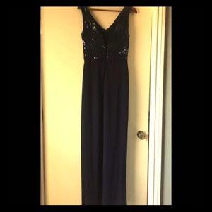Ralph Lauren Evening Sleeveless V-Neck Gown NAVY 6